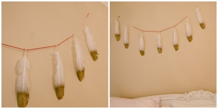 diy feather garland detail shots