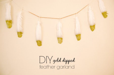 diy gold dipped feather garland decor